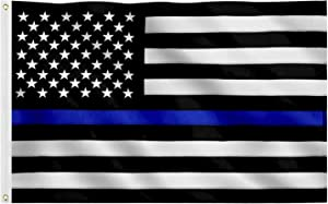 Jetlifee Black White Thin Blue Line American Flag 3x5 Ft Heavy-Use Nylon Embroidered Stars Sewn Stripes Fast Dry, All Weather USA Flag-Honoring Law Enforcement Officers