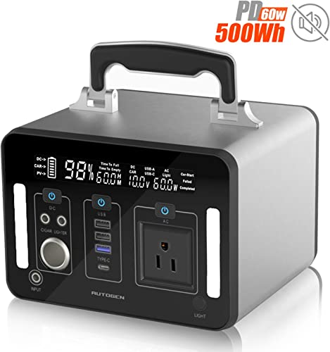 Portable Power Station 500WH, AUTOGEN Solar Generator Backup Lithium Battery with 500W Pure Sine Wave AC Outlet, Type C Quick Charge 3.0 USB Ports, for Outdoors Camping Emergency CPAP