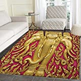 Elephant Area Silky Smooth Rugs Elephant Carved Gold Paint on Door Thai Temple Spirituality Statue Classic Floor Mat Pattern 4'x6' Fuchsia Mustard