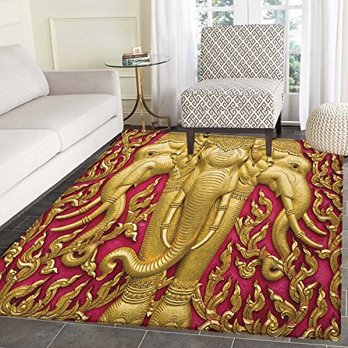 Elephant Area Silky Smooth Rugs Elephant Carved Gold Paint on Door Thai Temple Spirituality Statue Classic Floor Mat Pattern 4'x6' Fuchsia Mustard by smallbeefly