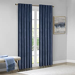 "Colt Room Darkening Poly Velvet Rod Pocket/Back Tab Window Panel Pair Navy 95"" Panel"