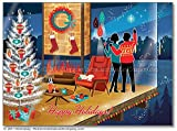 Mid Century Modern Romantic Christmas Cards, Package of 8