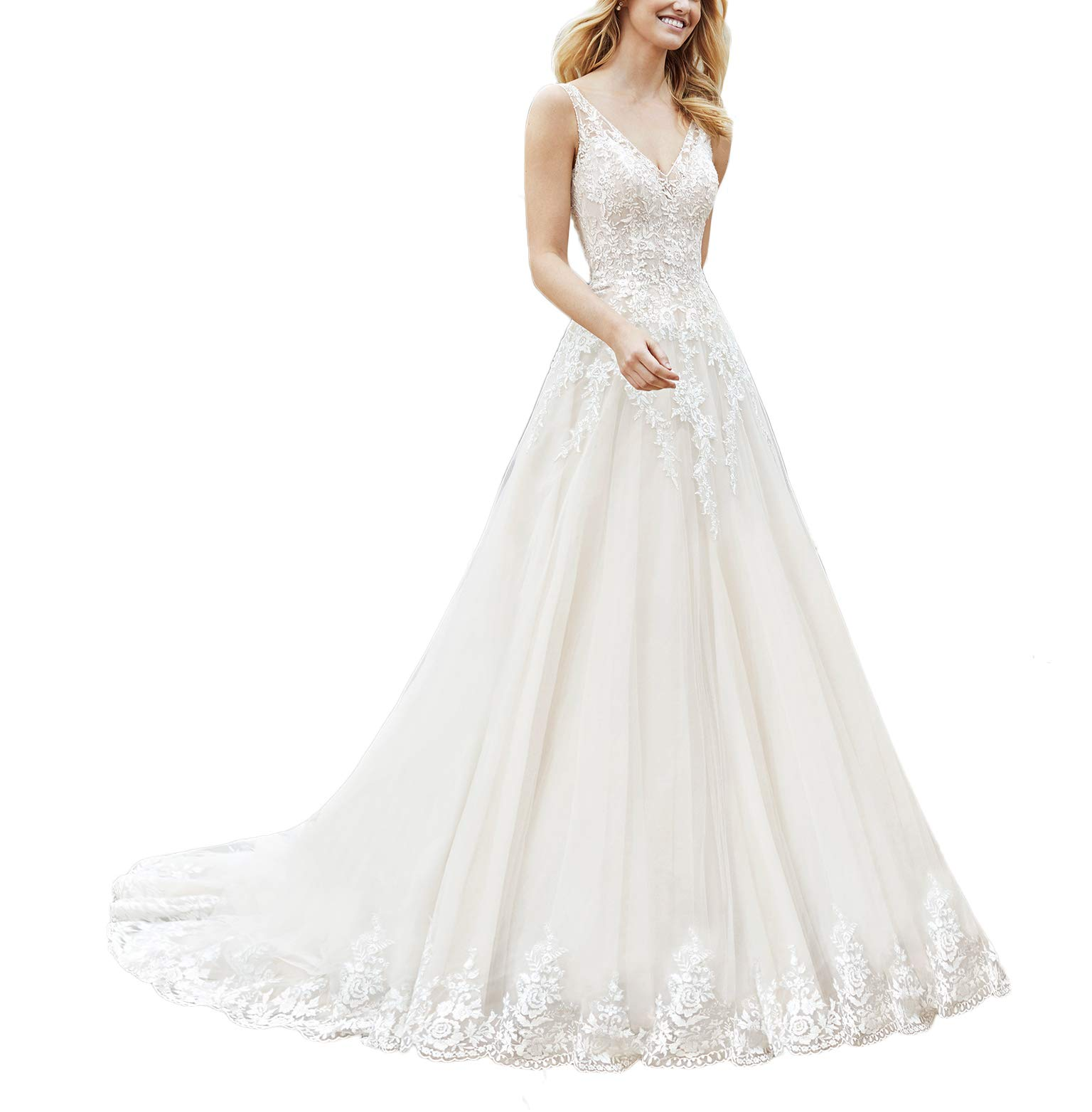 JAEDEN Ball Gown Lace Wedding Dress V Neck Open Back Bridal Gown with Train