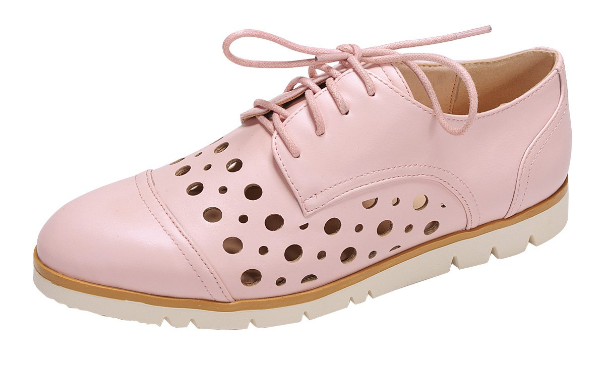 Nature Breeze Women's Perforated Laser Cut Outs Flatform Lace-up Oxford Shoe (11 B(M) US, Pink)