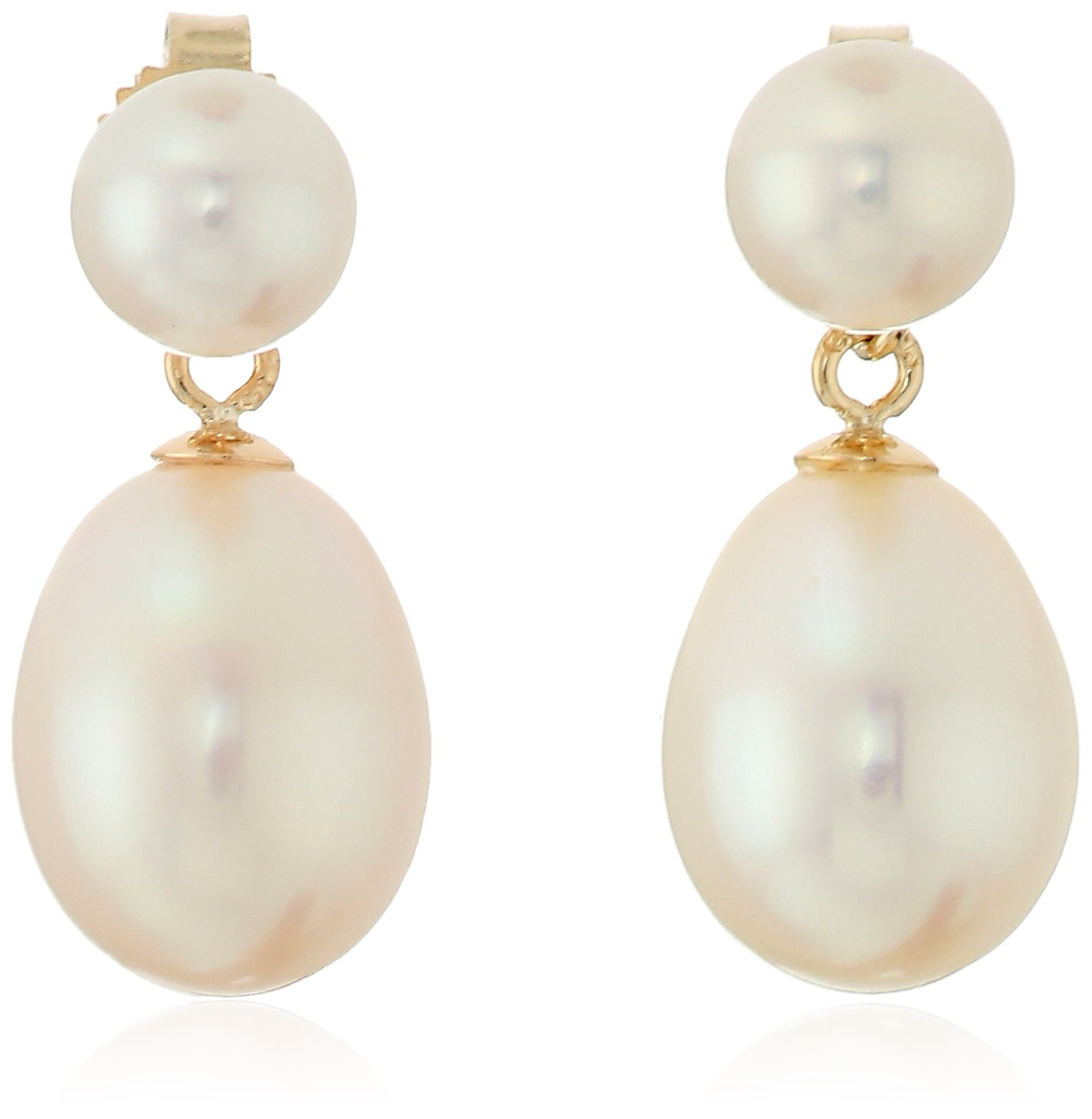 14k yellow gold 6.0-9.0mm cultured freshwater pearl drop earrings