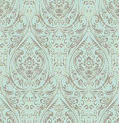 NuWallpaper NU2079 Nomad Damask Peel and Stick Wallpaper, 10.25""