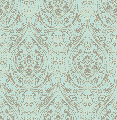 NuWallpaper NU2079, 10.25″ Nomad Damask Peel and Stick Wallpaper