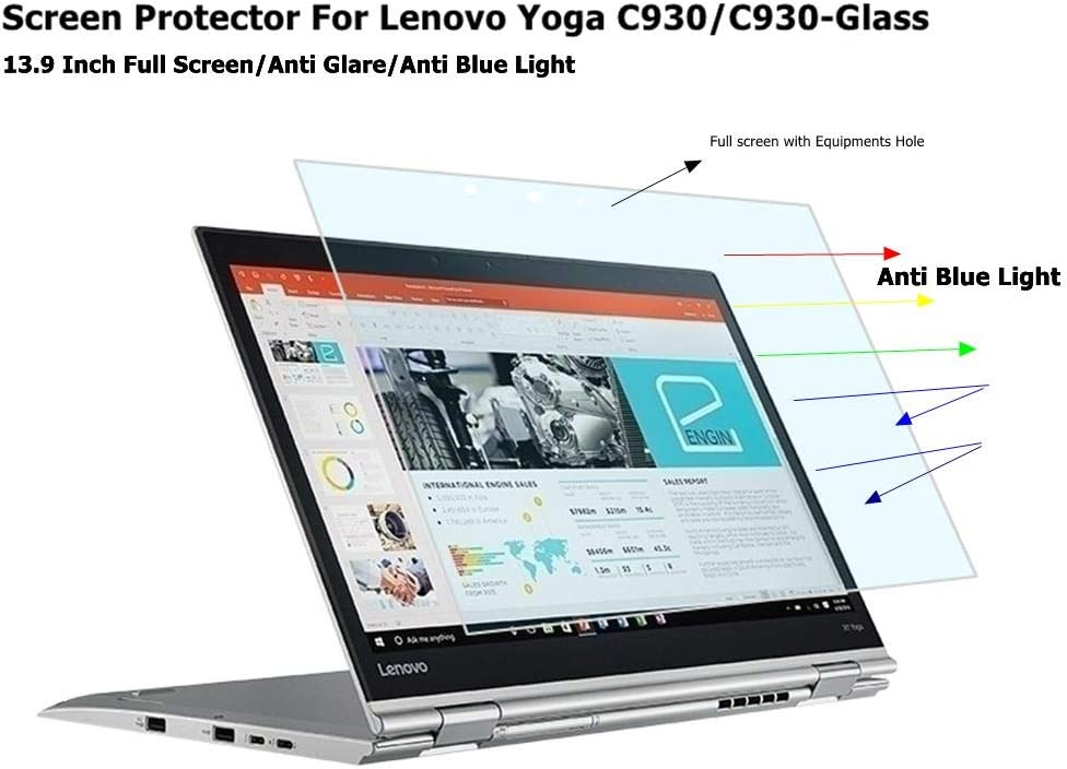 Starfilm Screen Protector for Lenovo Yoga C930/C930-GLASS 13.9 Inch Anti Blue Light Full Screen Protector (Anti Blue Light, Full Screen/HD Yoga C930/C930-Glass)