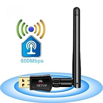 NETVIP Adaptador Antena WiFi Receptor 600Mbps Banda Dual (5G/433Mbps + 2.4G/150Mbps): Amazon.es: Electrónica