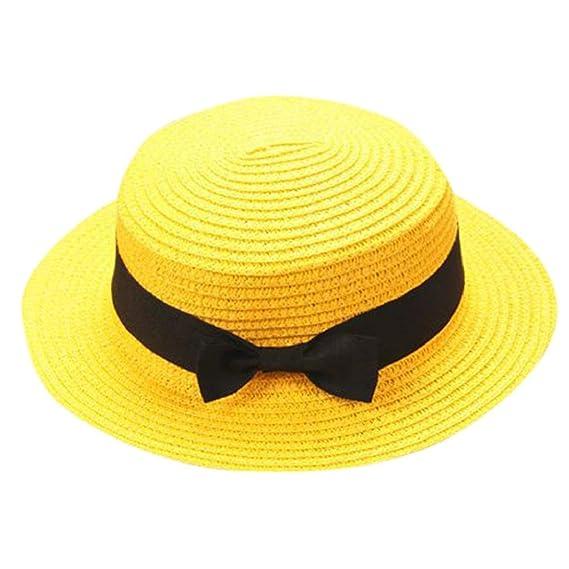 QUICKLYLY Familia Sombrero Paja Canotier Pescador Respirable de Protectora  del Sol Playa Sombrero Primavera Venaro para 03c6aa4ee8c