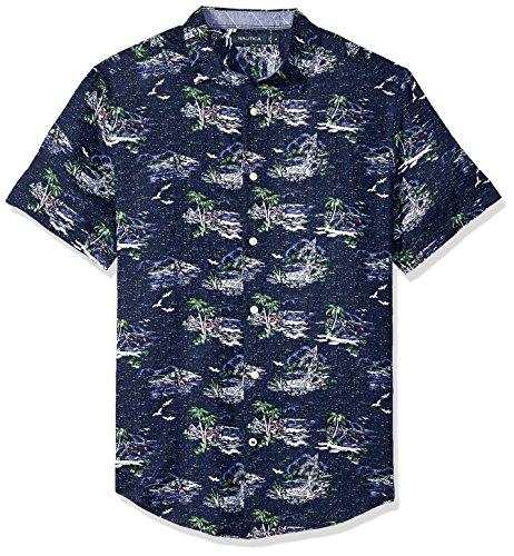 Nautica Men's Short Sleeve Classic Fit Print Linen Button Down Shirt, Maritime Navy, X-Large