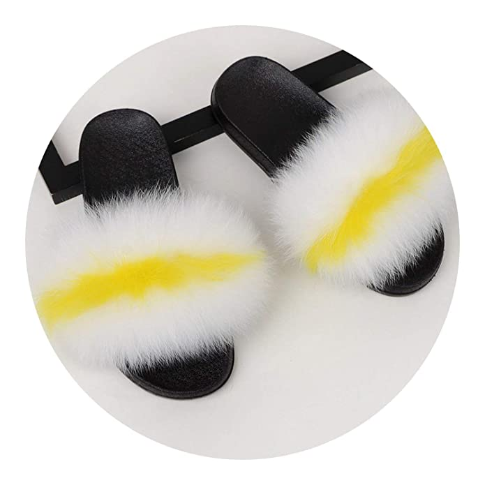 Amazon.com | Rainwater-Shop Real Fox Slippers Fluffy ...