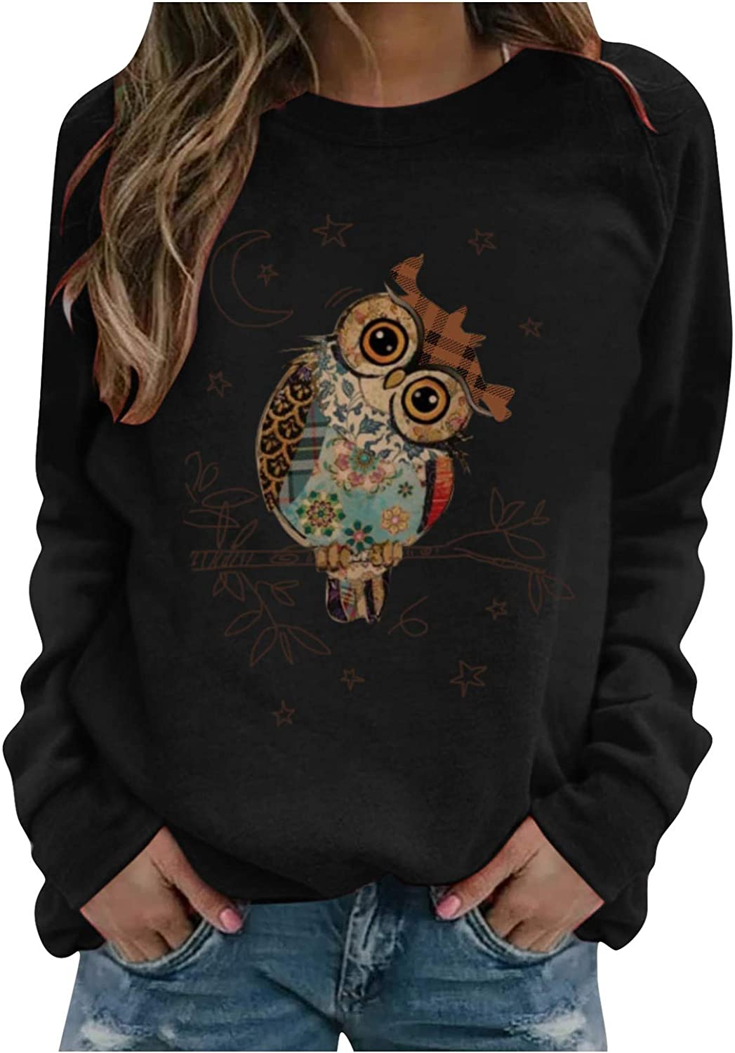 Sweatshirt Tunics for Women Funny Owl Graphic Tee Shirt Long Sleeve Crewneck Casual Pullover Loose Blouse Shirt Tops