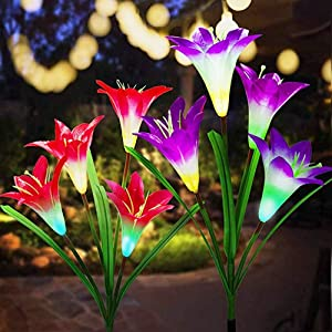 Outdoor Solar Garden Stake Lights - 2 Pack Solar Powered Lights with 8 Lily Flower, Multi-Color Changing LED Solar Decorative Lights for Garden, Patio, Backyard (Purple and Red)