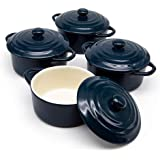 12oz Mini Cocotte, by Kook, Casserole Dish, Ceramic Make, Easy to Lift Lid, Charcoal Blue, Set of 4,