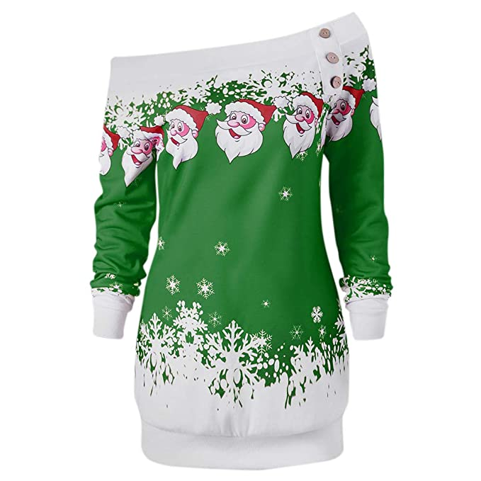 Amazon.com: Ocamo Christmas Women Off Shoulder Dress Fashionable Casual Long Sleeve Santa Dress Green L: Home & Kitchen