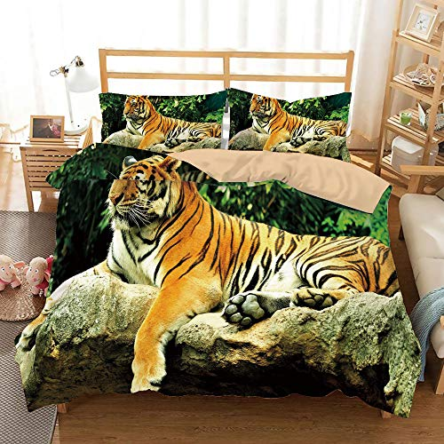 (SoSung Tiger Khaki Duvet Cover Set Full/Queen Size,Resting Feline in The Forest on a Large Rock Sublime Carnivore Beast Beautiful Nature,Decorative 3 Piece Bedding Set with 2 Pillow Shams,Multicolor)