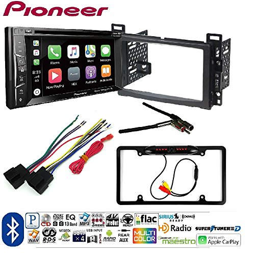 Pioneer AVH-1400NEX Double DIN Apple CarPlay In-Dash w/Touchscreen DASH INSTALL MOUNTING KIT FOR SELECT CHEVROLET GMC PONTIAC SUZUKI VEHICLES Car License Plate Rearview Camera - Black CAM810 Black
