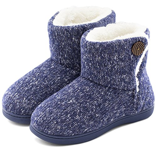 Women's Comfort Woolen Yarn Woven Bootie Slippers Memory Foam Plush Lining Slip-on House Shoes w/Anti-Slip Sole Indoor, Outdoor (Large / 9-10 B(M) US, Navy Blue)