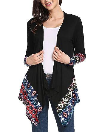 cb7002b40c48f0 Open Front Cardigan for Women Drape Tops Strip Blouse Loose Outwear Black