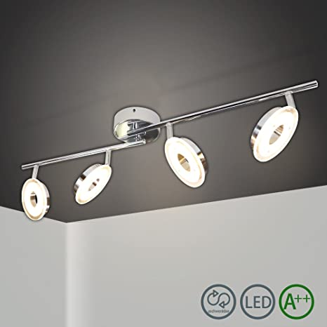 HG® 24W LED Spotlight de techo Espejo 4 llamas Dormitorio moderno Luz LED Spots Lámpara de sala de estar ajustable Deckenspot Comedor Dormitorio ...