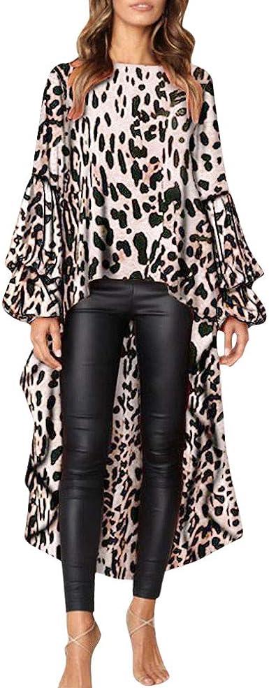 Lenfesh Pullovers Tops Casual Camisetas de Volantes para Mujer Camisas Oficina de Moda Leopardo Blusa Asimetrica de Mujer: Amazon.es: Ropa y accesorios