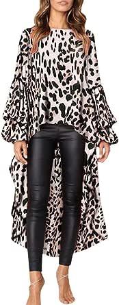 Lenfesh Pullovers Tops Casual Camisetas de Volantes para Mujer Camisas Oficina de Moda Leopardo Blusa Asimetrica de Mujer
