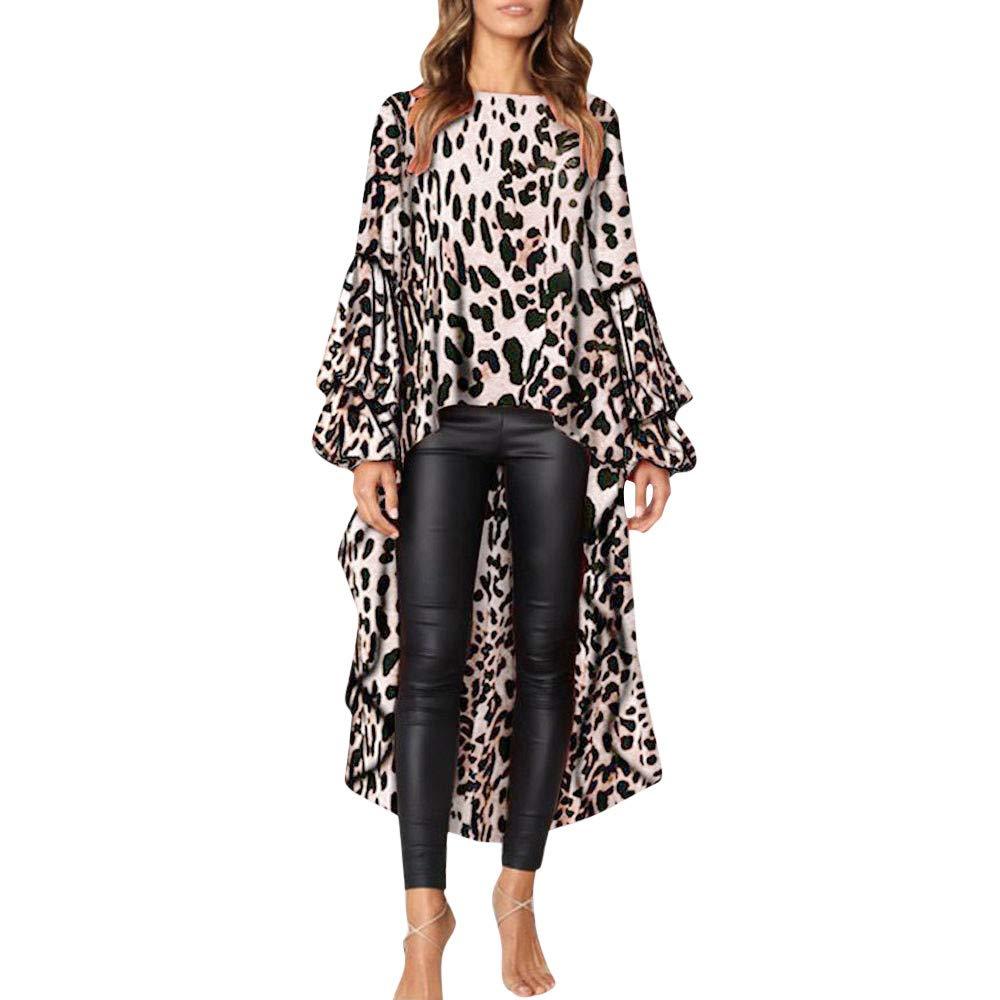 NUWFORWomen Leopard Ruffles Shirt Long Sleeve Sweatshirt Pullovers Tops Blouse S(Khaki,S)