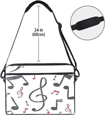Pink Music Guitar Star Laptop Notebook Computer Tablet Carrying Crossbody Shoulder Bag Fits 13-14.5 in for Men Women