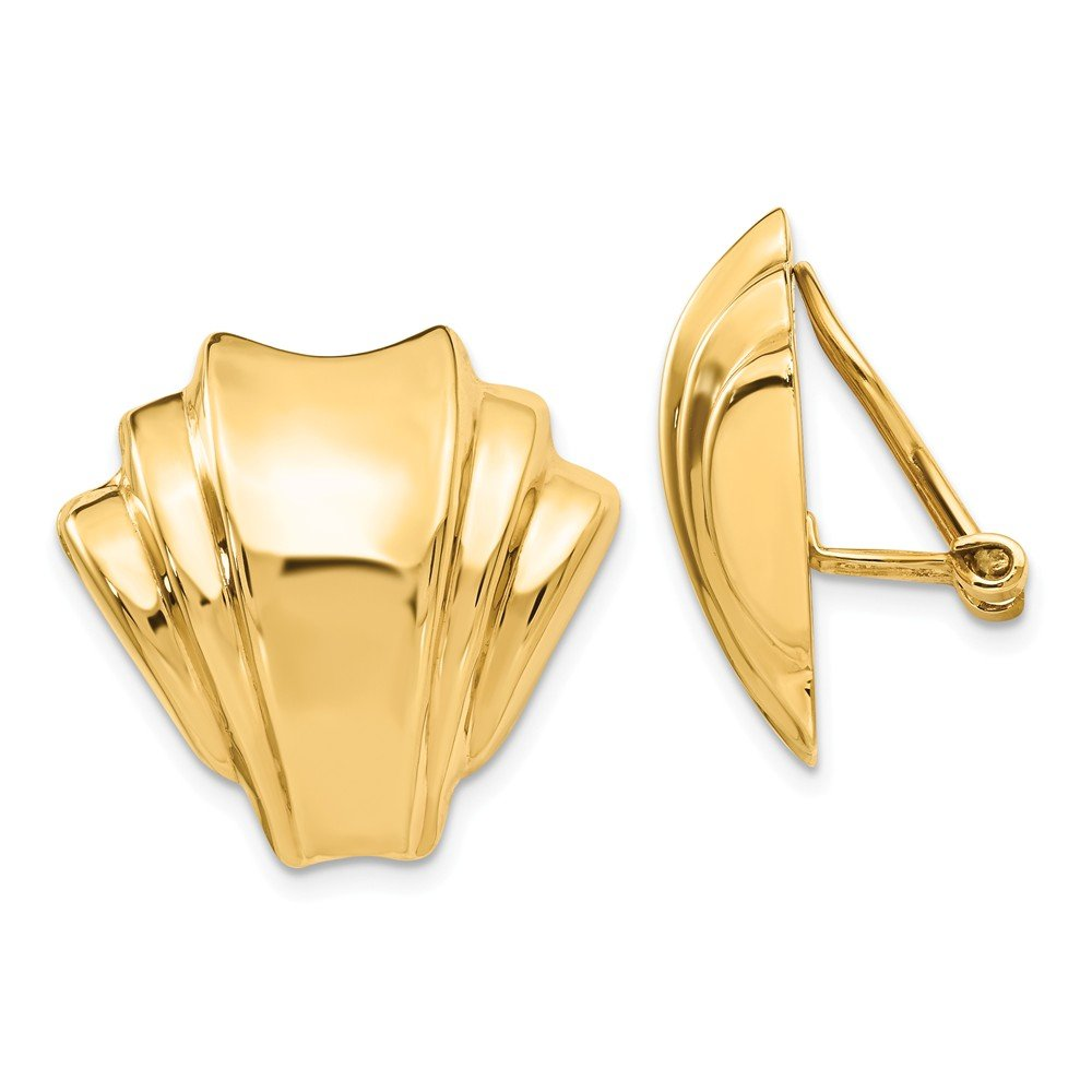 14K Yellow Gold Omega Clip Polished Non-Pierced Earrings (Approximate Measurements 21mm x 22mm)
