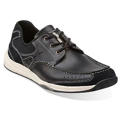 Clarks Men's Allston Edge Black Leather Lace-Up Shoes - 7.5 D(M)