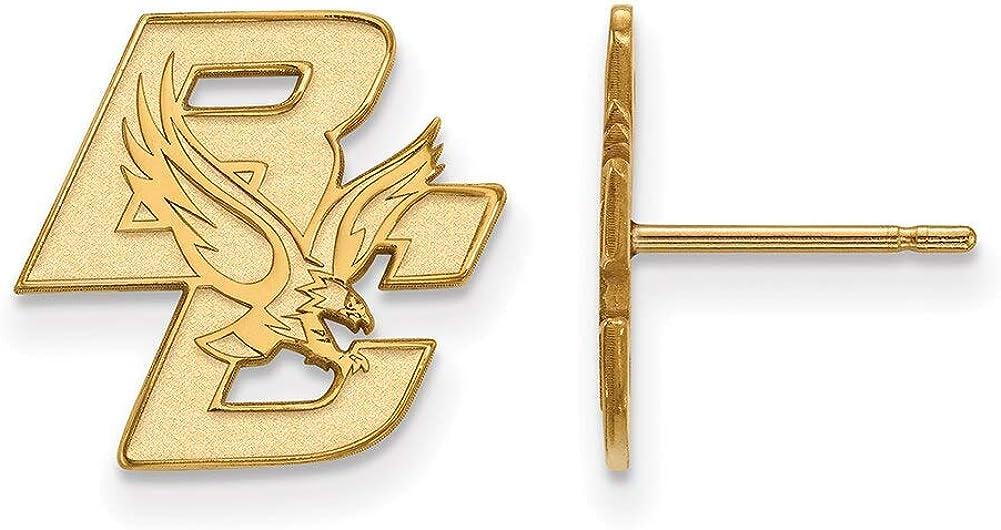 Lex /& Lu LogoArt 10k Yellow Gold Boston College Small Post Earrings