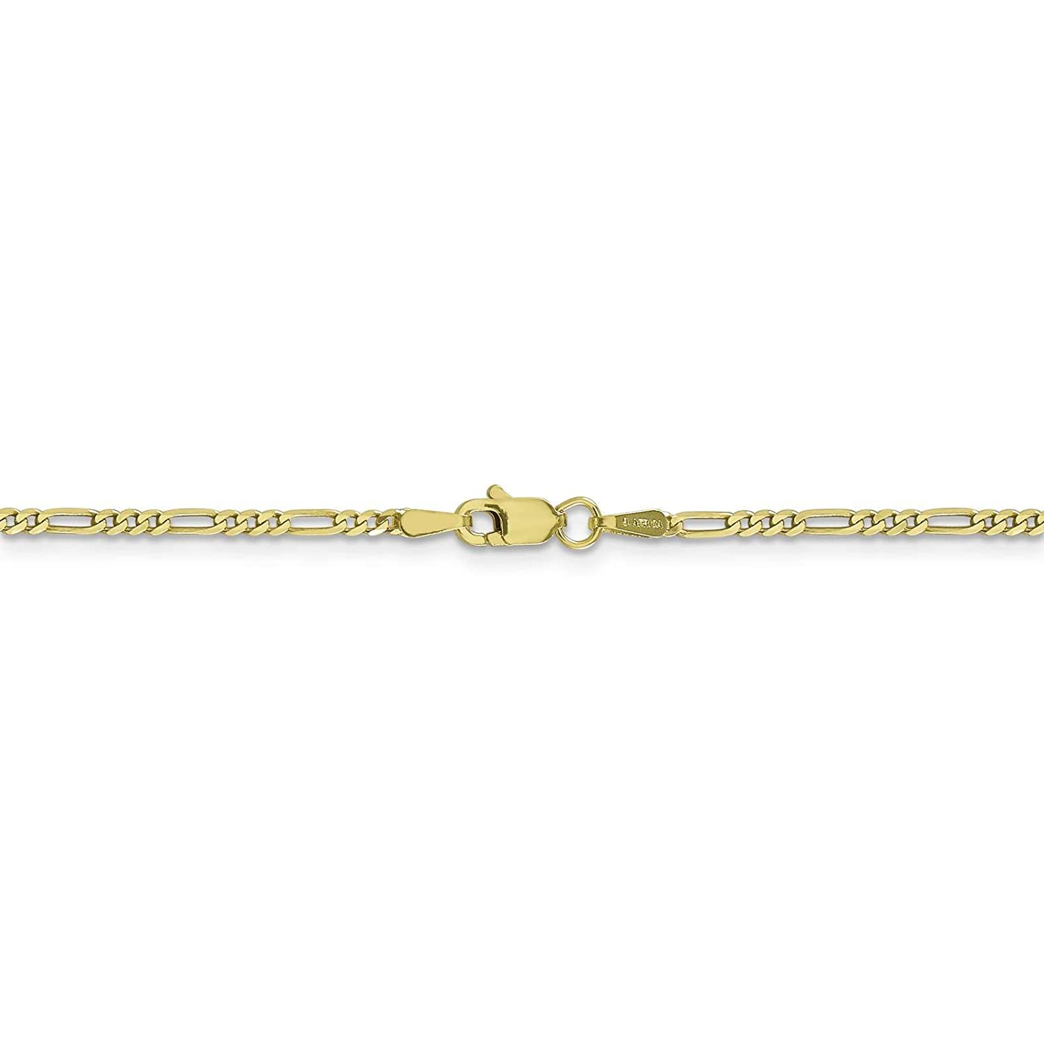 10k Yellow Gold Polished 1.7mm Figaro Link Chain Bracelet 7-30