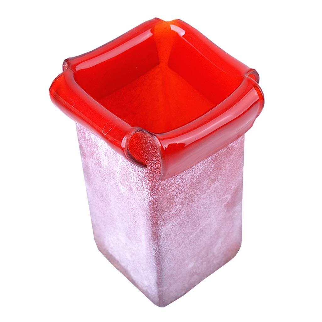 フラワーベース花器 花瓶ホームリビングルームデコレーションアメリカンクリエイティブワイドマウスボトルホテルモデルルームソフトデコレーションレッドフラワーアレンジメント工芸品 (Color : Red, Size : 17*17*25cm) B07S8TBQPS Red 17*17*25cm