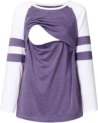 routinfly - Blusa de Lactancia para Mujer, Top de Lactancia de Color Liso con Mangas largas para Embarazadas y Embarazadas: Amazon.es: Hogar