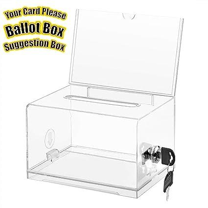 Amazoncom Maxgear Acrylic Donation Box With Lock And Sign Holder