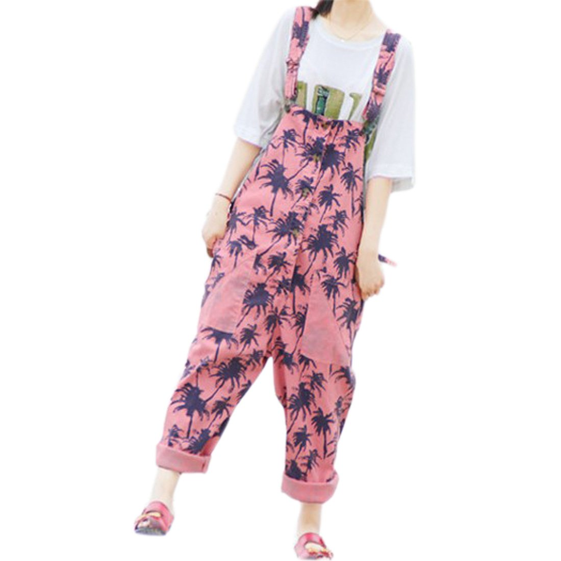 f7b5168882 Hibote Mujer Chicas Petos Largo Harem Pantalones Anchos Baggy Palazzo  Costura Casual Elegante Algodón Suelto Bolsillos