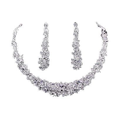 72a11e8e06b Koly® Women's Bride Bridesmaid Crystal Bridal Jewelry Sets Hot Sale  Necklace Earrings Set Wedding