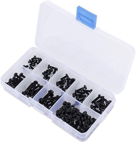 LSLMLLL 160 Unids M3 8 Tamaños Surtido Tornillos Separadores de Nylon Tornillos Tuercas Sujetador Negro Plástico Tornillo de Nylon Juego de Tuercas: Amazon.es: Deportes y aire libre