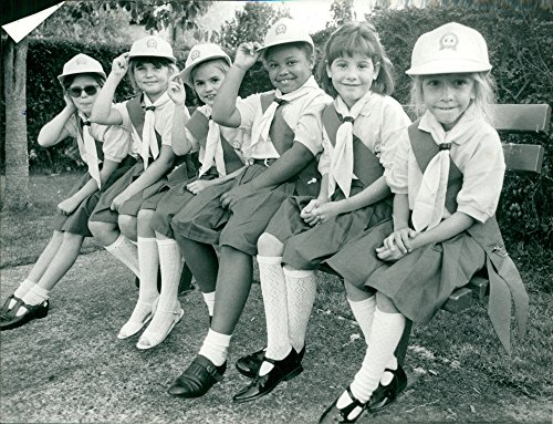 Vintage photo of Girl Guides and Brownies: Melissa Beasley, Katie Brown, Gemma Leader, Sarah Williams, Victoria Coppuch and Nicola Endersby