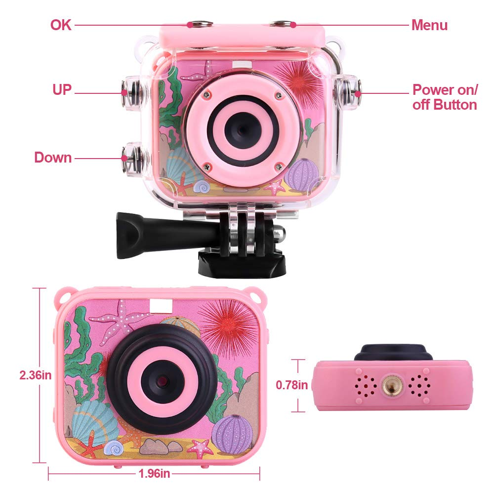 denicer Waterproof Children's Camera with 2.0 Inch LCD Display 12MP HD Kids Underwater Camera Camcorder with 32G SD Card for 4-12 Girls Festive/Birthday Gift-Pink by denicer (Image #4)
