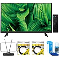 Vizio D-Series 32 Class Full-Array LED TV (D32hn-E1) with Durable HDTV and FM Antenna, 2x 6ft High Speed HDMI Cable Black & Universal Screen Cleaner for LED TVs Large Bottle