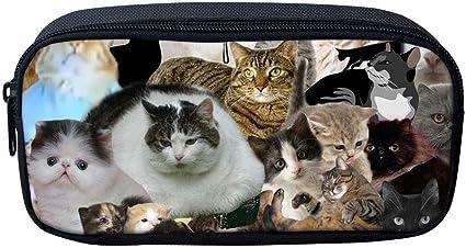 Showudesigns - Estuche para lápices con diseño de gato y perro para niñas, con cremallera, material escolar, color Cat Cartoon talla única: Amazon.es: Oficina y papelería