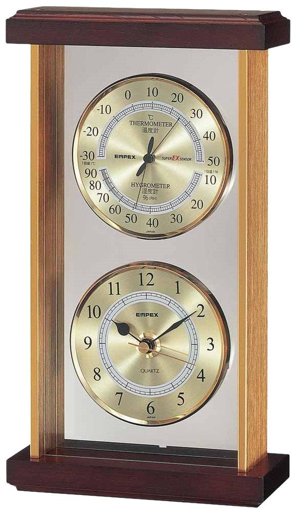 エンペックス気象計 温度湿度計 スーパーEXギャラリー 温度 湿度 時計表示 置き用 日本製 ブラウン EX-742 B0039HDAJ4ブラウン