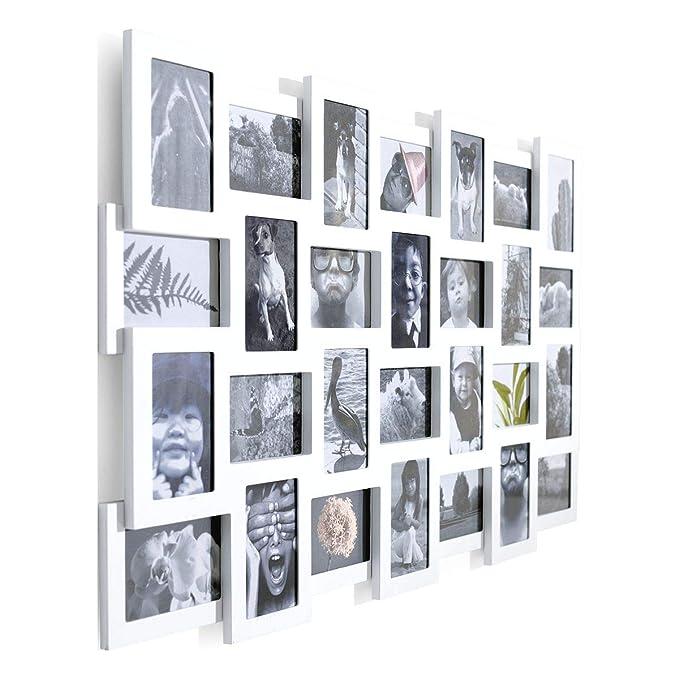 Portaretratos galeria de fotos collage para 28 fotografías madera MDF blanco aprox. ancho 104 x altura 80 cm: Amazon.es: Hogar