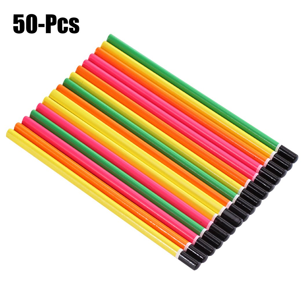 Funpa 50PCS Wood Pencil Colorful Pencil Sketch Pencil Wood Drawing Pencil for Primary Student
