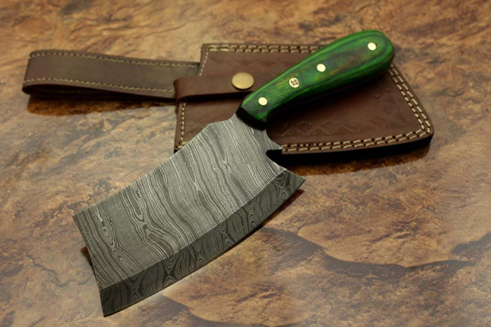 Cuchillo de carnicero de acero de Damasco forjado a mano, 24 ...