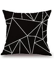 Cojines decorativos, KINIFE Algodón de Lino Funda de Cojín 45cmX45cm para Sofá Cama(Negro y blanco serie)