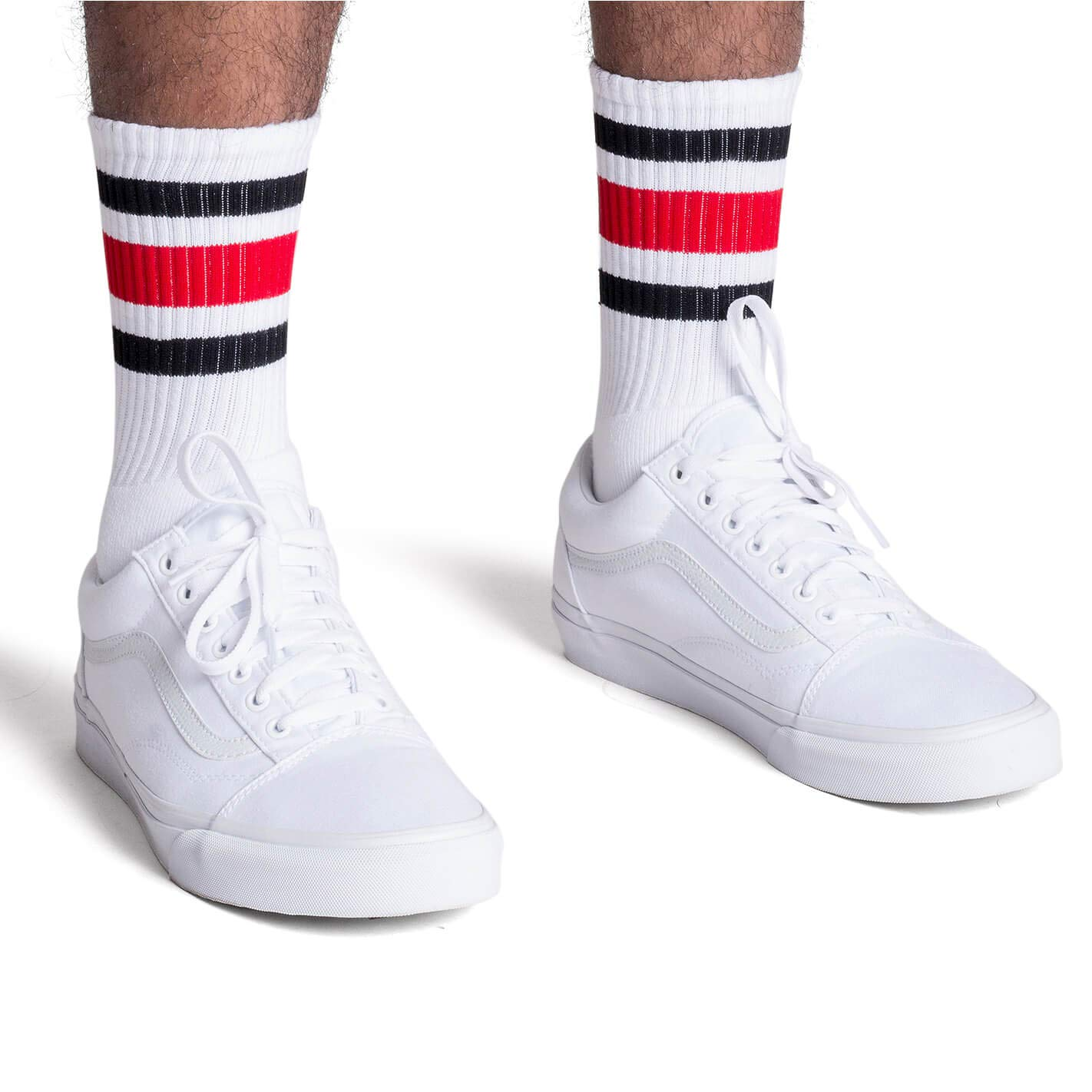 Socco Socks Unisex White Triple Striped Black//Red Crew Tube Socks 6-9 Small//Medium