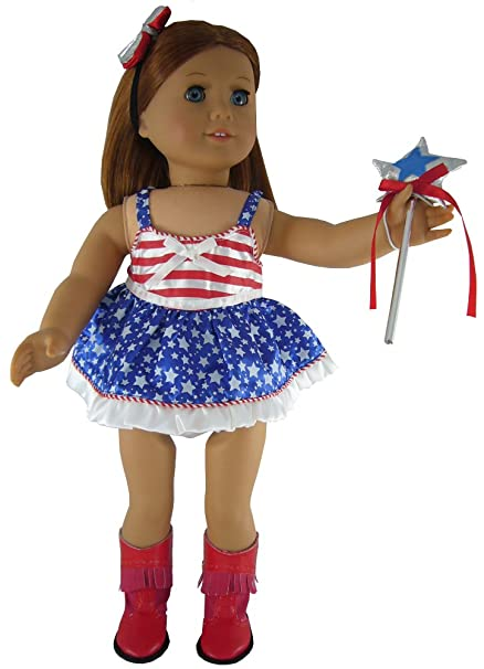 """d82b42e4be7b4 Image Unavailable. Image not available for. Color: Patriotic Dance Costume  for 18"""" American Girl ..."""